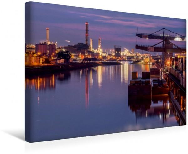 Wandbild Mannheim 2017 - wenn es Nacht wird im Hafen Sonnenuntergang im Hafen Sonnenuntergang im Hafen