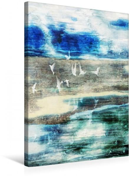 Wandbild Möwen über dem Strand Digitale Fotokunst mit eigenem Foto von Holzflächen Digitale Fotokunst mit eigenem Foto von Holzflächen