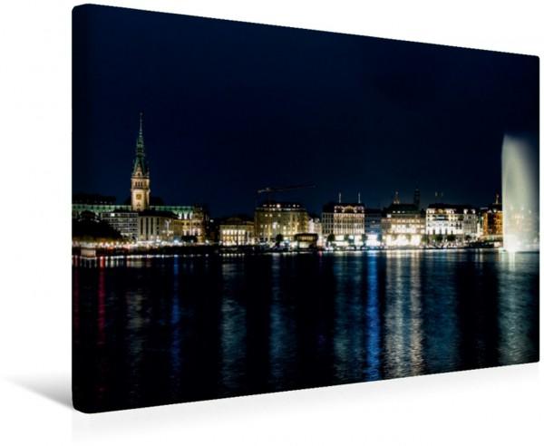 Wandbild Hamburg - Binnenalster Blick über die nächtliche Binnenalster auf den Jungfernstieg Blick über die nächtliche Binnenalster auf den Jungfernstieg