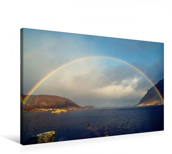 Wandbild Herrlicher Regenbogen über den Steirapollen Auf den Lofoten Auf den Lofoten