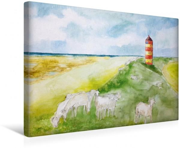 Wandbild Aquarell vom Pilsumer Leuchtturm in Krummhörn, Nierdersachsen Gemalte Leuchttürme - Mit Pinsel und Farbe entlang der deutschen Küste Gemalte Leuchttürme - Mit Pinsel und Farbe entlang der deu