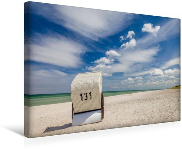 Wandbild Strand Einsamer Strandkorb auf Zingst Leinwandbild