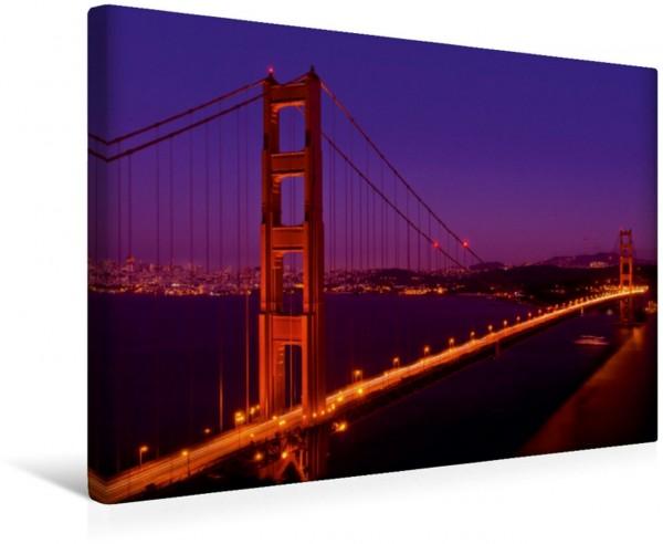 Wandbild Golden Gate Bridge am Abend Idyllisches San Francisco nach dem Sonnenuntergang Idyllisches San Francisco nach dem Sonnenuntergang