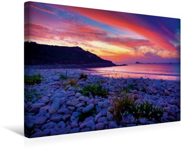 Wandbild Sehnsucht Bretagne - Farbenprächtiger Sonnenuntergang am Strand von Guerzit im Département Finistére Ein Bild der Träume Sehnsucht Bretagne - Breizh Ein Bild der Träume aus d