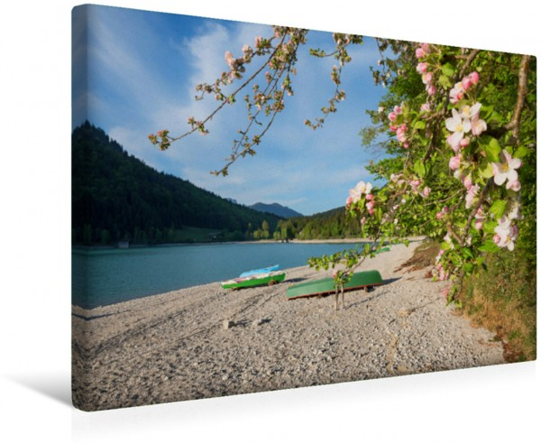 Wandbild Ruderboote am Walchensee Badestrand Frühlingslandschaft am Walchensee Frühlingslandschaft am Walchensee