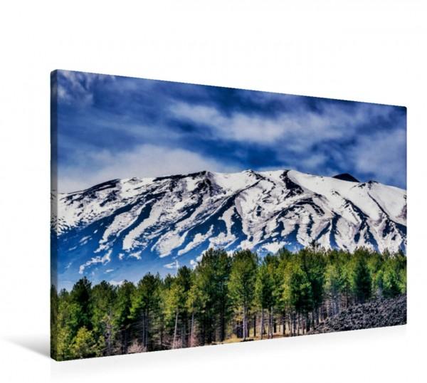 Wandbild Schneebedeckte Nordseite des Vulkan Ätna Sizilien Sizilien