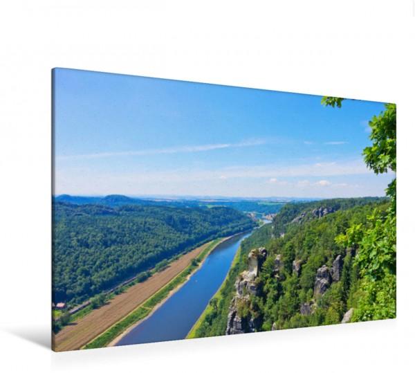 Wandbild Basteiblick Blick von der Bastei im Elbsandsteingebirge elbabwärts Richtung Dresden. Blick von der Bastei im Elbsandsteingebirge elbabwärts Richtung Dresden.