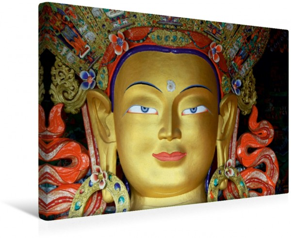 Wandbild Maitreya Buddhastatue in Thiksey Maitreya Buddhastatue im Kloster Thiksey Ladakh Indien Maitreya Buddhastatue im Kloster Thiksey Ladakh Indien