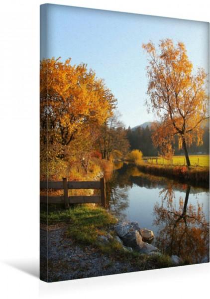 Wandbild Herbstliche Stille am Fluss Herbst an der Schlierach Oberbayern Herbst an der Schlierach Oberbayern