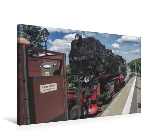 Wandbild Dampfzug mit Schienencabriolet Einfahrt in den Bahnhof Hasserode mit Schienencabriolet Einfahrt in den Bahnhof Hasserode mit Schienencabriolet