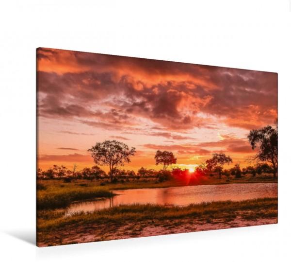 Wandbild Sonnenuntergang im Okavango-Delta