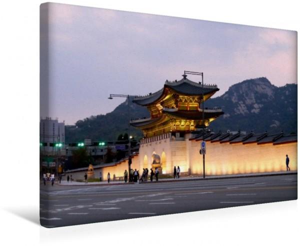 Wandbild Tor zum Gyeongbokgung-Palast in Seoul Tor zum Palast der Strahlenden Glückseligkeit einem von fünf Königspalästen Seouls Tor zum Palast der Strahlenden Glückseligkeit einem von fünf Königspal