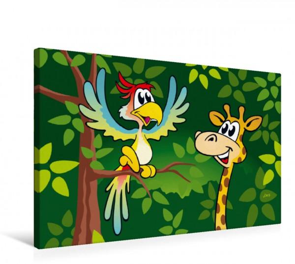 Wandbild Auf Augenhöhe! Cartoon Papagei und Giraffe unterhalten sich auf Augenhöhe. Cartoon Papagei und Giraffe unterhalten sich auf Augenhöhe.