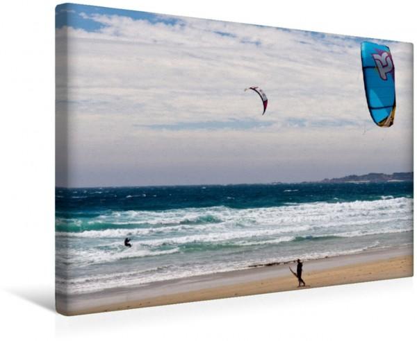 Wandbild Kite-Surfer am Playa A Lanzada Fonte de Ons Galizien Fonte de Ons Galizien