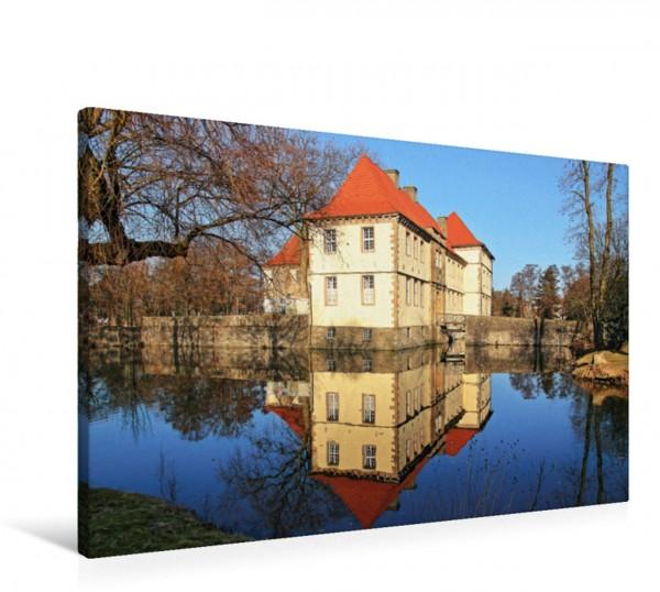 Wandbild Wasserschloss Strünkede in Herne-Baukau. Das Wasserschloss Strünkede gehört zu den schönsten Sehenswürdigkeiten in Herne und den schönsten Schlössern im Ruhrgebiet. Das Wasserschloss Strünked