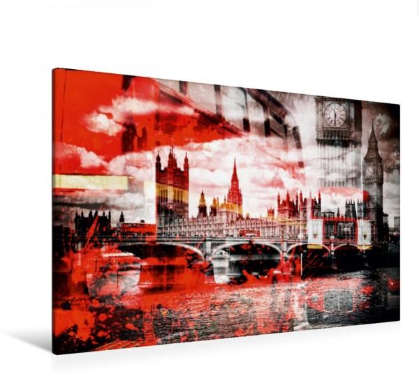 Wandbild LONDON Westminster Bridge und rote Busse Moderne urbane Komposition Moderne urbane Komposition