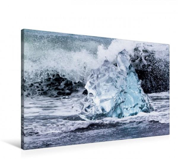 Wandbild Eis in der Brandung Aus dem Jökulsarlon getriebener und gestrandeter Eisberg Aus dem Jökulsarlon getriebener und gestrandeter Eisberg