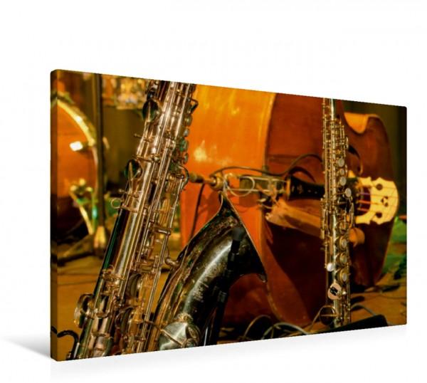 Wandbild Tenor- und Sopransaxophon vor Kontrabass