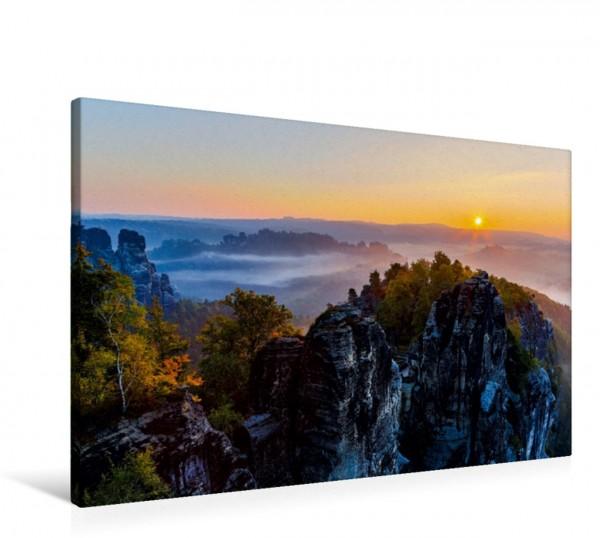 Wandbild perfekter Herbstmorgen Sonnenaufgang in der Sächsichen Schweiz Sonnenaufgang in der Sächsichen Schweiz