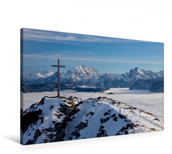 Wandbild Gipfelkreuz in Bergkulisse Winter in den Bergen Winter in den Bergen