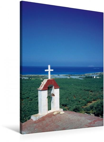 Wandbild Kirche bei Falasarna, Kreta, Griechenland, Europa typische Landschaft bei Falasarna mit Glockenturm einer Kirche im Vordergrund. typische Landschaft bei Falasarna mit Glockenturm einer Kirche