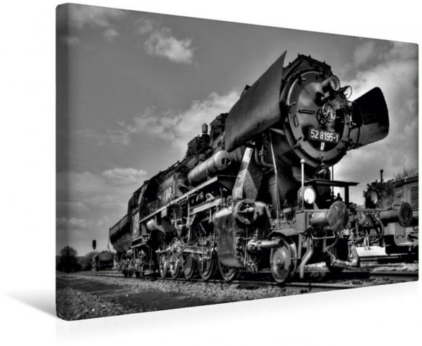 Wandbild Unter Dampf - Eisenbahnromantik in schwarz-weiß