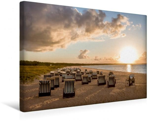 Wandbild Die letzten Sonnenstrahlen am Strand an der Ostsee