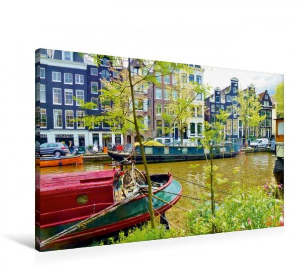 Wandbild Amsterdam - Hausboote an der Prinsengracht