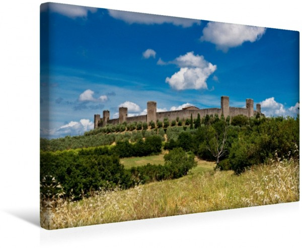 Wandbild Monteriggioni auf dem Berg Monte Ala, Toskana Italien Italien