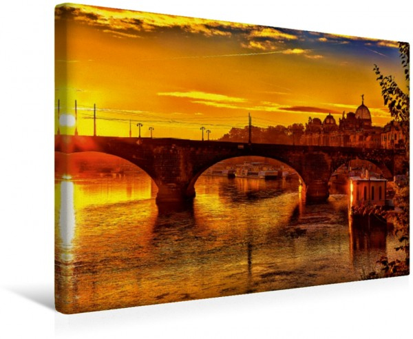 Wandbild Sonnenaufgang über der Elbe in Dresden