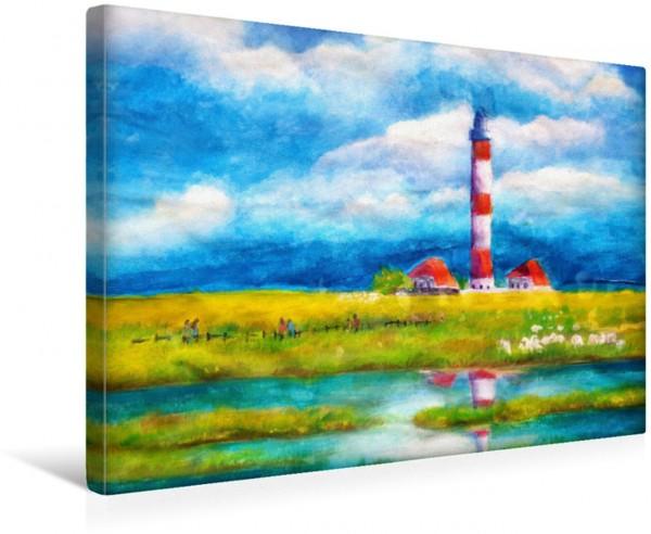 Wandbild Leuchtturm Westerheversand auf der Halbinsel Eiderstedt - gemalt mit Gouache Gemalte Leuchttürme - Mit Pinsel und Farbe entlang der deutschen Küste Gemalte Leuchttürme - Mit Pinsel und Farbe