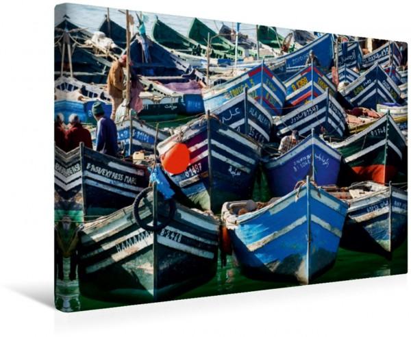 Wandbild Fischerboote im Hafen von Agadir.