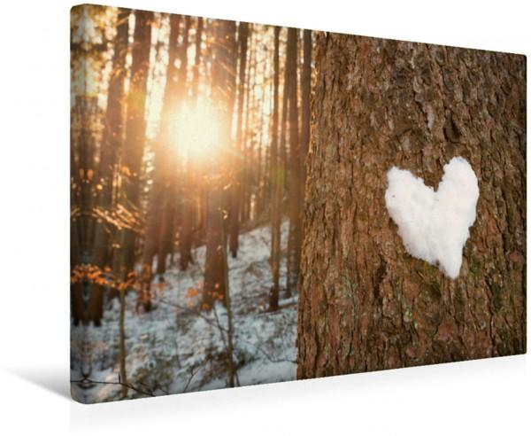 Wandbild Schneeherz im Winterwald romantisches Liebes-Symbol romantisches Liebes-Symbol