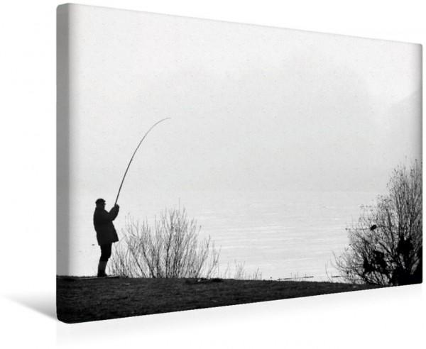 Wandbild Angler am Elbufer bei Dresden