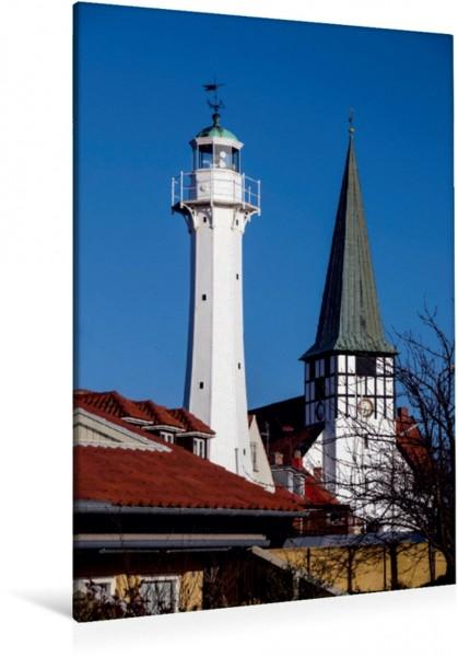 Wandbild Rönne Bornholm Leuchtturm und Nikolaikirche in Rönne Leuchtturm und Nikolaikirche in Rönne