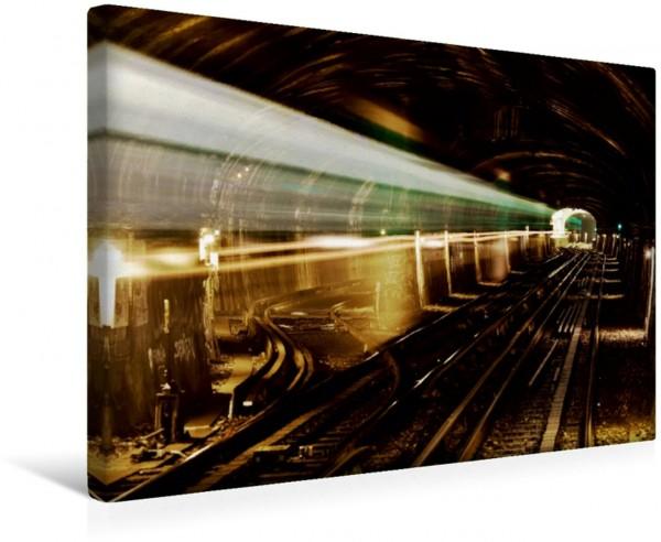 Wandbild U-Bahn - Szenen an U-Bahnstationen in Europa und New York U-Bahn-Tunnel der Pariser Metro U-Bahn-Tunnel der Pariser Metro