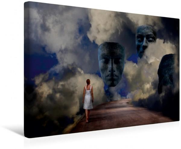 Wandbild Götterdämmerung Traumszene einer Frau die auf ihrem Weg durch die Wolken den Göttern begegnet Traumszene einer Frau die auf ihrem Weg durch die Wolken den Göttern begegnet